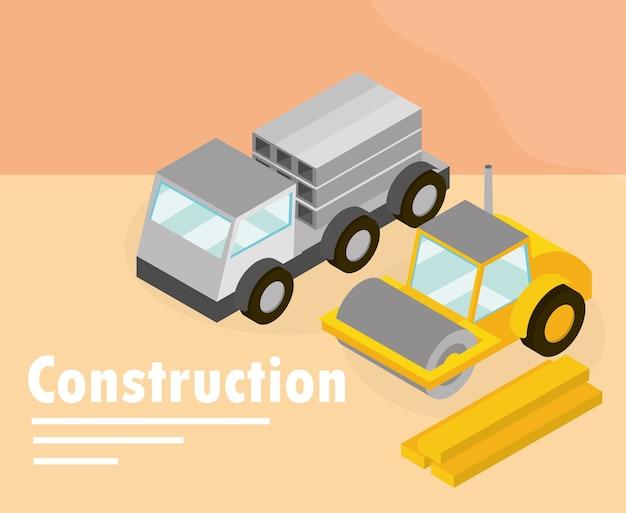 Ilustração isométrica de máquina e caminhão rolo-compactador de construção