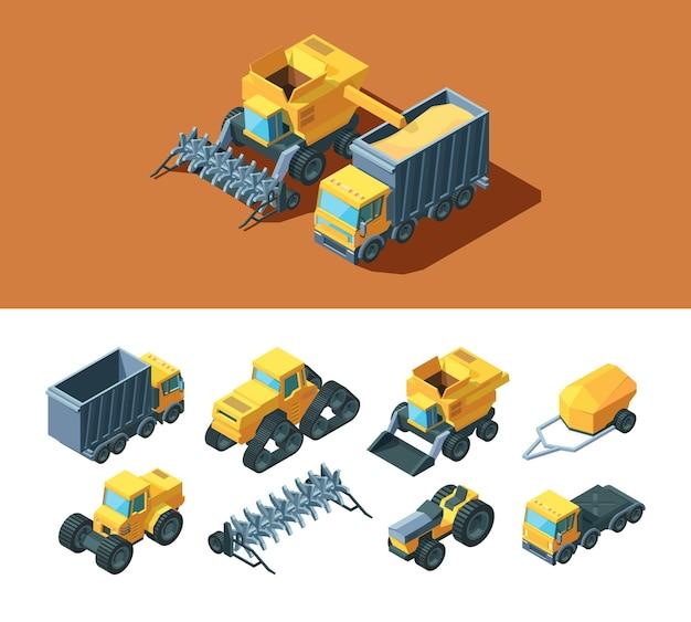 Ilustração isométrica de máquinas agrícolas
