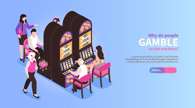 Ilustração isométrica de máquinas de jogos de azar de cassino