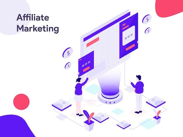 Ilustração isométrica de marketing afiliado