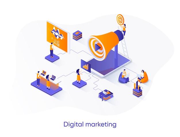 Ilustração isométrica de marketing digital com personagens de pessoas