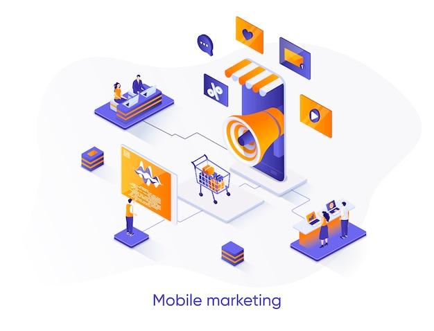 Ilustração isométrica de marketing móvel com personagens de pessoas