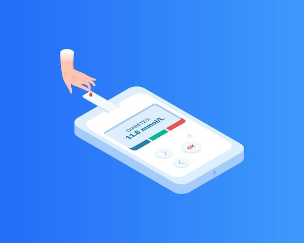 Ilustração isométrica de medidor de diabetes