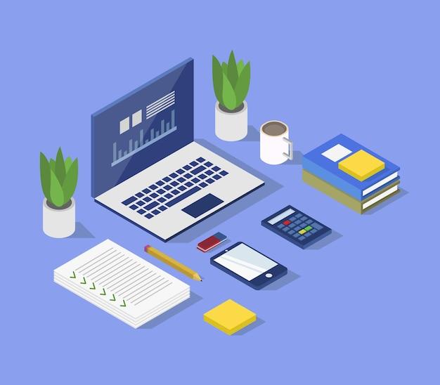 Ilustração isométrica de mesa de escritório