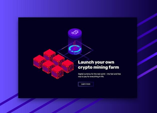 Ilustração isométrica de mineração de fazenda de bitcoin
