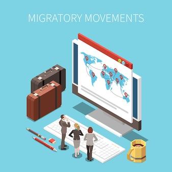 Ilustração isométrica de mobilidade populacional e deslocamento de migração
