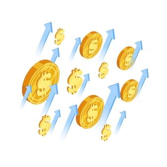 Ilustração isométrica de moedas e flechas de dólar