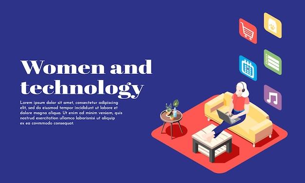 Ilustração isométrica de mulheres e tecnologia com jovem em fones de ouvido, sentada no sofá com o laptop