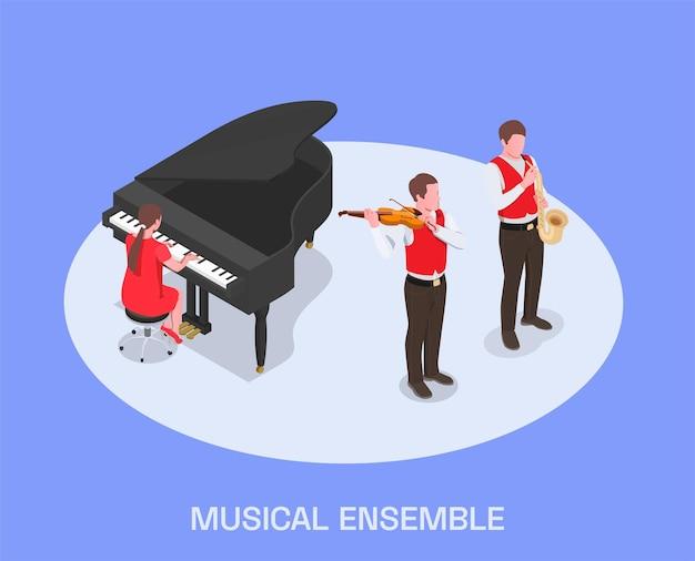 Ilustração isométrica de músicos profissionais