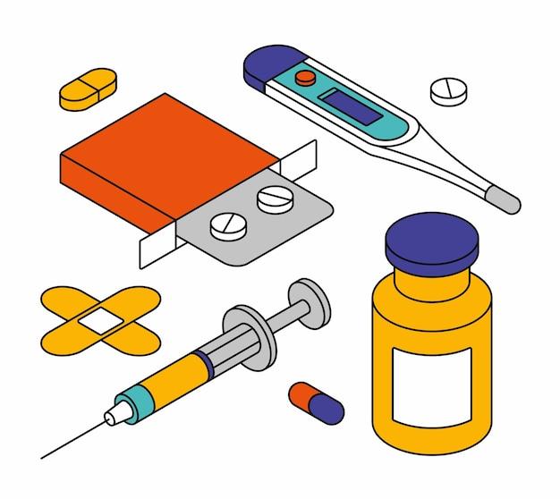 Ilustração isométrica de objetos médicos.