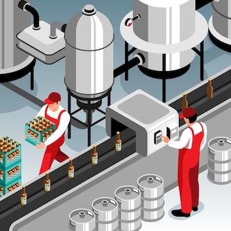 Ilustração isométrica de operadores e esteira transportadora de garrafas de cerveja
