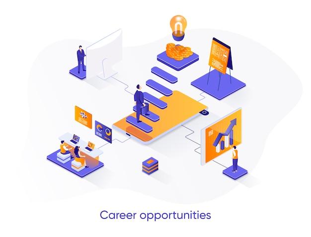 Ilustração isométrica de oportunidades de carreira com personagens de pessoas