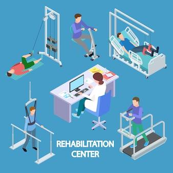 Ilustração isométrica de pacientes de fisioterapeuta e reabilitação