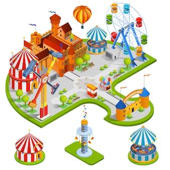 Ilustração isométrica de parque de diversões