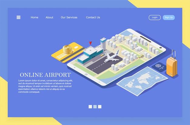Ilustração isométrica de pedir um táxi para o aeroporto através do aplicativo móvel