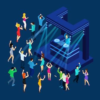 Ilustração isométrica de pessoas a dançar