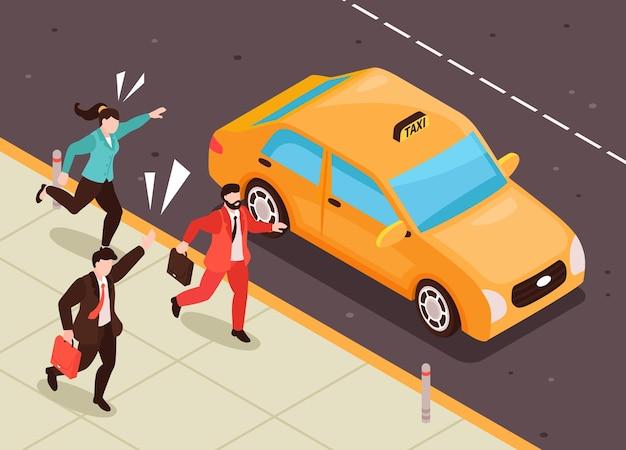 Ilustração isométrica de pessoas correndo para táxi