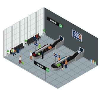 Ilustração isométrica de pessoas esperando bagagem