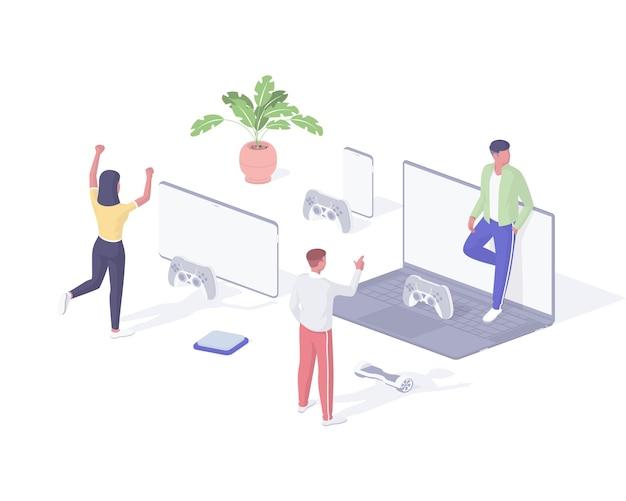 Ilustração isométrica de pessoas jogando jogos online. personagens jovens do grupo jogam jogos de computador remotamente e se comunicam pela rede. divertido entretenimento virtual, emoção digital realista.