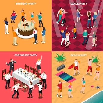 Ilustração isométrica de pessoas na festa