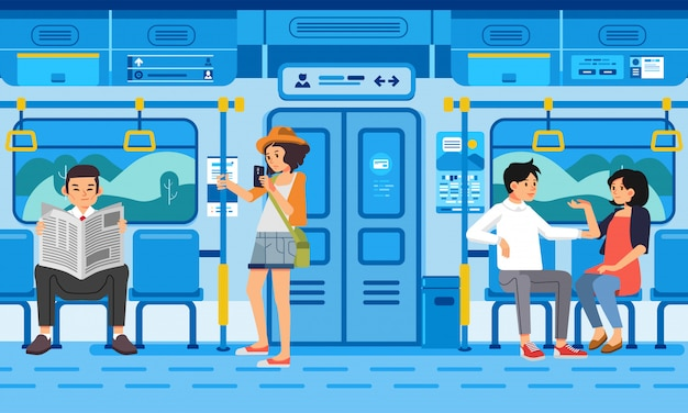 Ilustração isométrica de pessoas passageiros no transporte público moderno de trem, com paisagem campestre pela janela