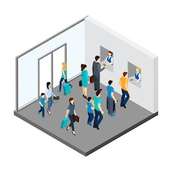 Ilustração isométrica de pessoas subterrâneas