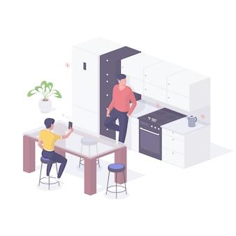 Ilustração isométrica de pessoas testando recursos de casa inteligente