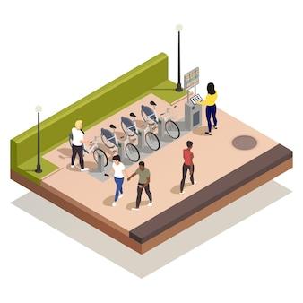 Ilustração isométrica de pessoas usando bicicletas de aluguel