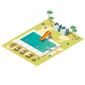 Ilustração isométrica de piscina resort