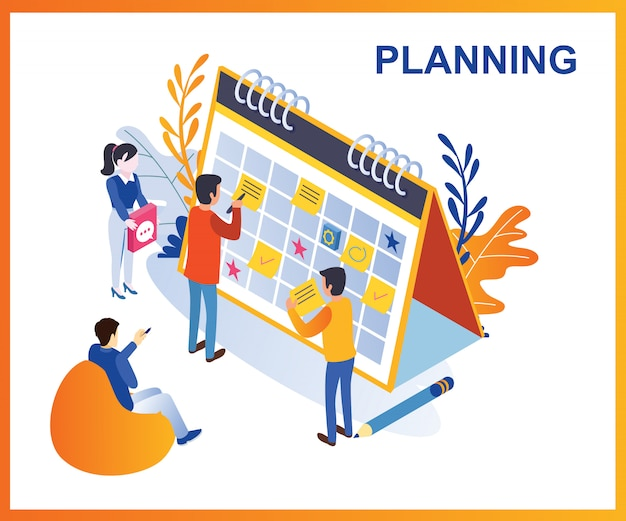 Ilustração isométrica de planejamento