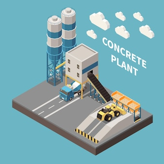 Ilustração isométrica de planta de concreto