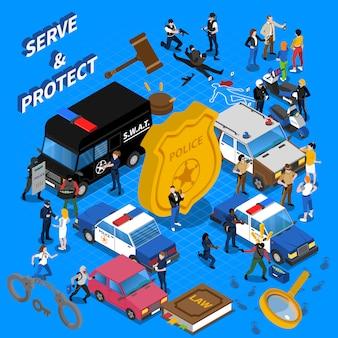 Ilustração isométrica de polícia