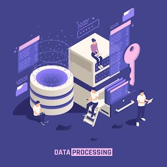 Ilustração isométrica de processamento de dados