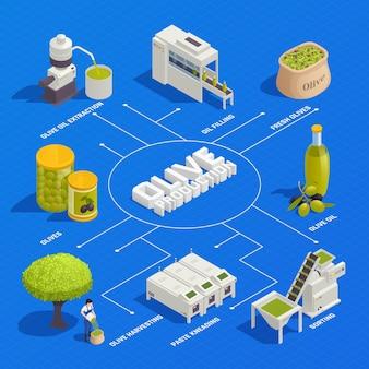 Ilustração isométrica de produção de azeitona