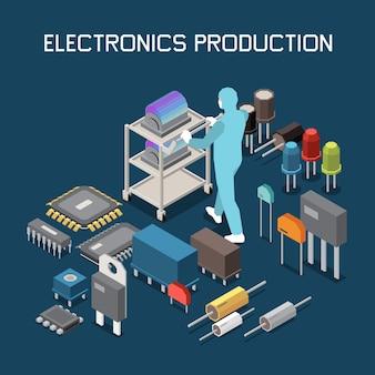 Ilustração isométrica de produção de chip semicondutor