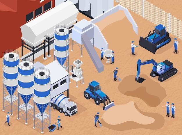 Ilustração isométrica de produção de cimento de concreto plano e colorido