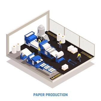 Ilustração isométrica de produção de papel