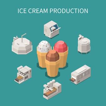 Ilustração isométrica de produção de sorvete com três cones de waffle recheados com diferentes variedades de sorvete