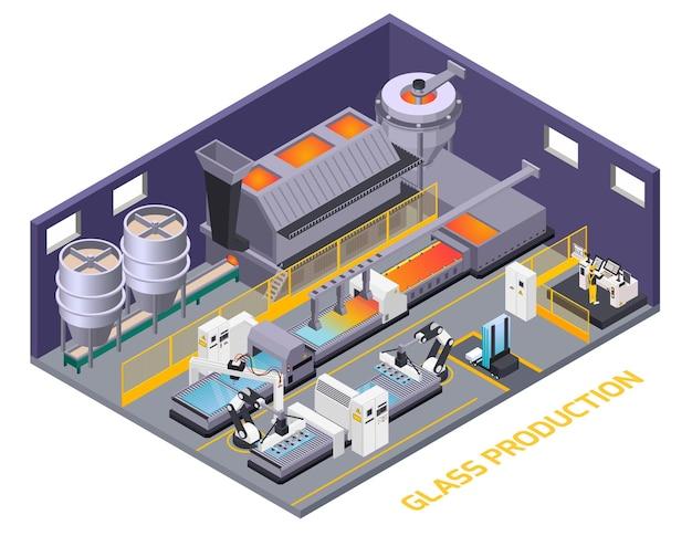 Ilustração isométrica de produção de vidro