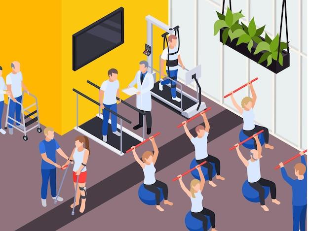 Ilustração isométrica de programas de exercícios de reabilitação funcional individual e em grupo