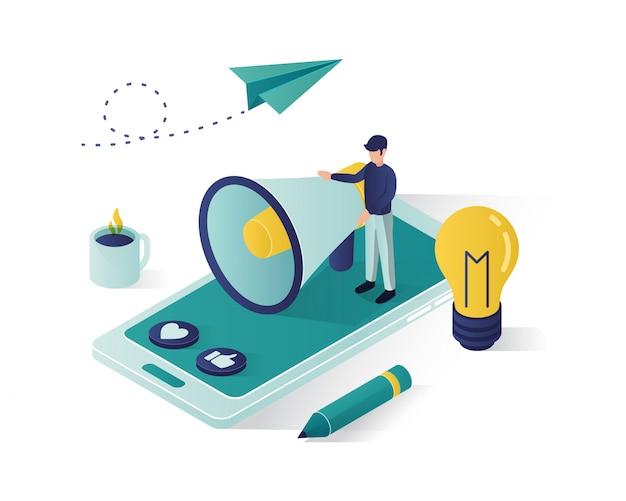 Ilustração isométrica de promoção de negócios, mídias sociais, marketing ilustração isométrica.