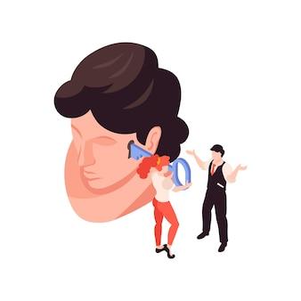 Ilustração isométrica de psicologia com cabeça humana e buraco de fechadura