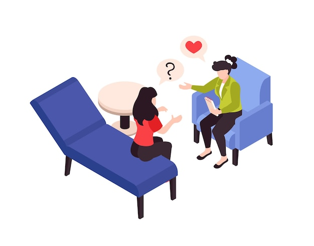 Ilustração isométrica de psicologia, terapia e problemas amorosos