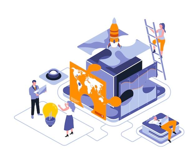 Ilustração isométrica de quebra-cabeça de negócios