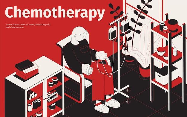 Ilustração isométrica de quimioterapia