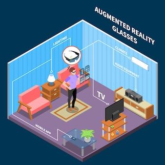 Ilustração isométrica de realidade aumentada