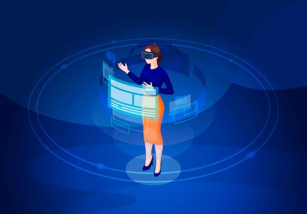 Ilustração isométrica de realidade virtual