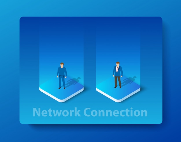 Ilustração isométrica de rede