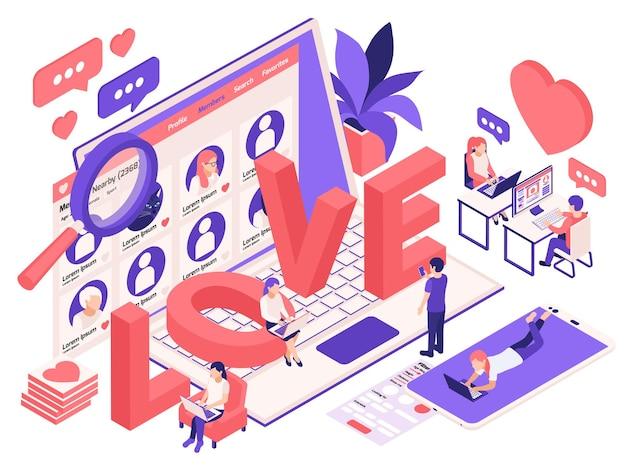 Ilustração isométrica de relacionamento virtual e namoro