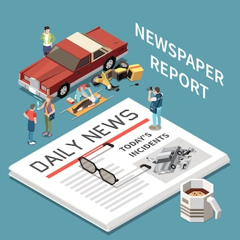 Ilustração isométrica de relatório de jornal